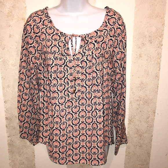 Kenar Tops - Kenar Flowey Blouse SZ M Key Hole Vibrant Colors